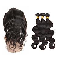 Echthaar Peruanisches Haar Menschenhaar spinnt Große Wellen 360° Vorderhaar Haarverlängerungen 4 Stück Schwarz