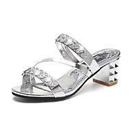 お買い得  女性用靴-女性用 靴 PUレザー 春 コンフォートシューズ サンダル チャンキーヒール ブロックヒール のために アウトドア ゴールド シルバー