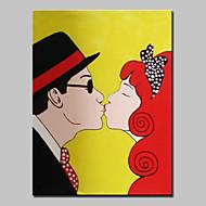 billiga Människomålningar-HANDMÅLAD Människor Abstrakta porträtt Vertikal,Moderna Europeisk Stil En panel Kanvas Hang målad oljemålning For Hem-dekoration