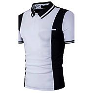 Bomull Tynn Skjortekrage Polo Herre - Fargeblokk, Lapper Aktiv Svart og hvit / Kortermet
