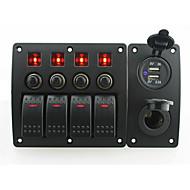 iztoss červená LED DC12 / 24V 4 gang on-off kolébkový přepínač zakřivený panel a jistič s popisky samolepky a zásuvky a 3.1a USB port pro