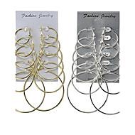 Dame Store øreringe Smykker Enkelt design Multi-bæremåder beklædning Klassisk kostume smykker Legering Rund form Smykker Til Bryllup Fest