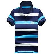 男性用 プラスサイズ Polo 活発的 ストリートファッション シャツカラー ソリッド ストライプ コットン