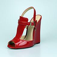 voordelige Grote maten schoenen-Unisex Schoenen PU Zomer Club Schoenen Sandalen Sleehak Peep Toe Gesp voor Formeel Feesten & Uitgaan Zwart Rood