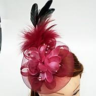 Tyl Peří Síť Fascinátory Klobouky Doplňky do vlasů Birdcage Veils with Květiny 1ks Svatební Zvláštní příležitosti Přílba