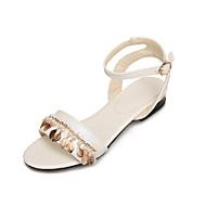 billige Sko i Store Størrelser-Dame-PU-Flat hæl Lav hæl-Komfort Lette såler-Sandaler-Kontor og arbeid Formell Fritid-Hvit Blå Rosa