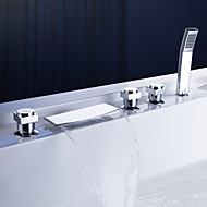 cheap Sprinkle® Faucets-Contemporary  with  Chrome Three Handles Five Holes  ,  Feature  for Waterfall Widespread Pull out