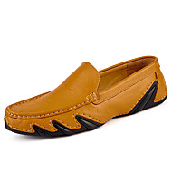 Men's Shoes Leather Cowhide Spring Fall Comfort Driving Shoes Loafers & Slip-Ons For Casual Outdoor Office & Career Black Brown Blue