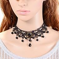 Dame Kort halskæde Syntetisk safir Kroneformet Imiteret Perle Blonde Sort perle Mode Tyrkisk Klassisk Smykker Til Bryllup Fest Speciel