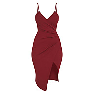 Mulheres Bandagem Feriado Moda de Rua Tubinho Bainha Vestido Sólido Com Alças Cintura Alta Assimétrico