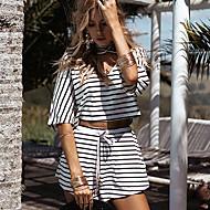 女性用 ビーチ お出かけ 祝日 ストリートファッション Tシャツ ストライプ パンツ Vネック