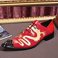 お買い得  メンズオックスフォードシューズ-メンズ 靴 レザー スエード 春 秋 コンフォートシューズ アイデア フォーマルシューズ オックスフォードシューズ ウォーキング アップリケ 編み上げ 用途 結婚式 パーティー ブラック レッド