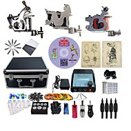 billiga Tatuering och body art-BaseKey Tattoo Machine Professionell Tattoo Kit - 3 pcs Tatueringsmaskiner LED strömförsörjning Fodral inkluderat 3 x stål tatueringsmaskin för linjer och skuggning