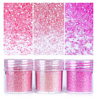 Lyserøde skinnende nagelglitterpulver 1box 10ml nagel kunststøvtips søm kunst dekoration til neglelak