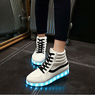 Könnyű talpak Light Up Shoes-Lapos-Női-Tornacipők-Esküvői Szabadidős Irodai Ruha Alkalmi Sportos Party és Estélyi-Bőrutánzat-Fehér Fekete