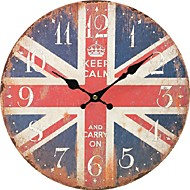 Artistic Silent Retro Creative European Style Round Colorful Vintage Rustic Decorative Antique Wooden Home Wall Clock