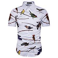 男性用 ビーチ クラブ - プリント プラスサイズ シャツ スリム 鳥 コットン