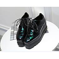 tanie Obuwie damskie-Damskie Obuwie Guma Lato Świecące buty Szpilki Płaski obcas na Casual Black