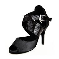 Недорогие -Для женщин Латина Дерматин Сандалии Кроссовки Для открытой площадки На низком каблуке Черный 6 см Персонализируемая