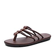 Men's Slippers & Flip-Flops Comfort Cowhide Spring Summer Fall Casual Outdoor Office & Career Dress Water Shoes Black Light Brown1in-1