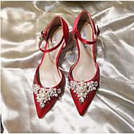 hesapli İndirim-Kadın's Ayakkabı PU Yaz Topuktan Bağlamalı Topuklular Günlük için Siyah / Kırmzı