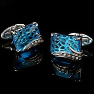 幾何学形 シルバー カフスボタン 銅 クラシック ファッション ギフトボックス&バッグ パーティー ビジネス、式典、結婚式 男性用 コスチュームジュエリー
