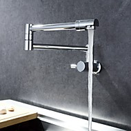 cheap Kitchen Faucets-Contemporary Pot Filler Wall Mounted Rotatable Ceramic Valve Single Handle One Hole Chrome, Kitchen faucet
