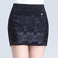 Žene Veći konfekcijski brojevi Sweet Style Visoki struk Slim Kratke hlače Hlače, Pamuk Jednobojni Ljeto