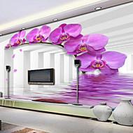 フローラル柄 3D ホームのための壁紙 現代風 ウォールカバーリング , キャンバス 材料 接着剤必要 壁画 , ルームWallcovering