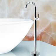 現代風 アールデコ調/レトロ風 近代の バスタブとシャワー ワイドspary with  セラミックバルブ シングルハンドル4つの穴 for  クロム , 浴槽用水栓