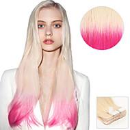 20pcs tape i hårforlengelser # t60 / rosa blond rosa ombre 40g 16inch 20inch 100% menneskehår for kvinner