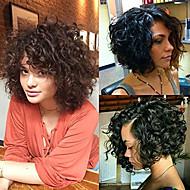 נשים פיאות תחרה משיער אנושי שיער רמי חזית תחרה חלק קדמי תחרה ללא דבק 130% 150% 180% צְפִיפוּת מתולתל פאה Jet Black שחור חום כהה Mediumt