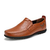 baratos Sapatos Masculinos-Homens Mocassim Couro Ecológico Primavera / Outono Mocassins e Slip-Ons Caminhada Preto / Castanho Claro / Castanho Escuro / Loafers de conforto