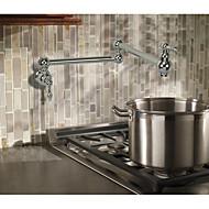 Contemporary Art Deco/Retro Modern Pot Filler Centerset Widespread Rotatable with  Ceramic Valve Two Handles One Hole for  Chrome ,