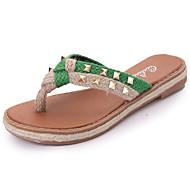 baratos Sapatos Femininos-Mulheres Couro Ecológico Primavera / Verão Conforto / Gladiador Sandálias Sem Salto Dedo Aberto Tachas / Tira Trançada Vermelho / Verde