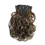Hairpiece 17inch 160g 16 Clips 7pcst Synthetic Hair Extension Long Wavy Hair Clip In Hair Extensions Heat Resistant D1016 4H27#