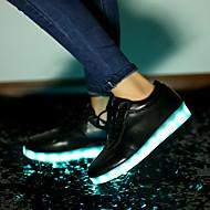 メンズ-ウェディング アウトドア オフィス アスレチック パーティー ドレスシューズ カジュアル-レザーレット-フラットヒール-ライト付きソール 靴を点灯-スニーカー-ホワイト ブラック