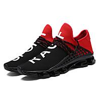 Unissex-Tênis-Conforto Solados com Luzes par sapatos-Salto Baixo-Preto Preto/Vermelho Branco/Preto-Tule-Ar-Livre Casual Para Esporte