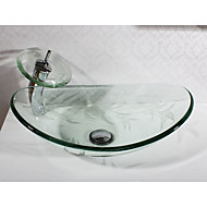 Contemporary Rectangular Sink Material is Tempered Glass Bathroom Sink