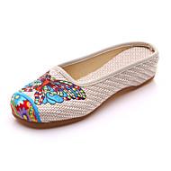נשים-נעלי אוקספורד-קנבס-נוחות חדשני רצועה אחורית נעליים רקומות--שטח משרד ועבודה שמלה יומיומי ספורט-עקב שטוח עקב עבה