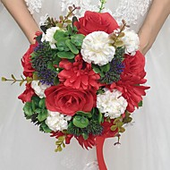 "Svatební kytice Kulatý Růže Kytice Svatba Satén Papír 28 cm (cca 11,02"")"