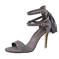baratos Sapatos Femininos-Mulheres Sapatos Camurça Verão Conforto Sandálias Salto Agulha Peep Toe Presilha / Mocassim Rosa claro / Khaki / Nú
