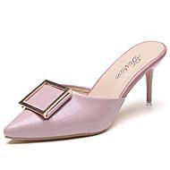女性用 靴 PUレザー 夏 コンフォートシューズ サンダル スティレットヒール ブラック / レッド / ピンク