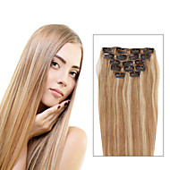 7 Pcs/Set P27/613 Mixed Strawberry  Blonde Clip In Hair Extensions Piano Color 14Inch 18Inch 100% Human Hair
