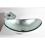 cheap Vessel Sinks-Contemporary Rectangular Sink Material is Tempered Glass Bathroom Sink