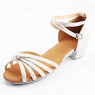 baratos Sapatilhas de Dança-Mulheres Sapatos de Dança Latina Courino Têni Salto Baixo Personalizável Sapatos de Dança Preto e Dourado / Preto e Prateado / Rosa claro