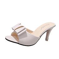 baratos -Feminino Sandálias Conforto Couro Ecológico Verão Ar-Livre Caminhada Salto Baixo Branco Preto Menos de 2,5cm