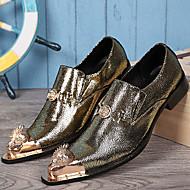 tanie Small Size Shoes-Męskie Buty Formalne Skóra nappa Wiosna / Jesień Zabytkowe Oksfordki Złoty / Srebrny / Impreza / bankiet
