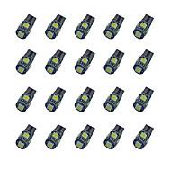 20 stuks t10 5 * 5050 smd-krijt-decodering LED-lampje wit licht dc12v
