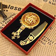 2ks vzor je náhodný retro starožitný bronz cestování mini jemný dárek dutý z kosmetického zrcadla